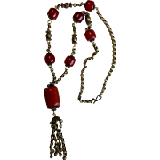 Vintage Pewter Tone Necklace – Russet Color Beads