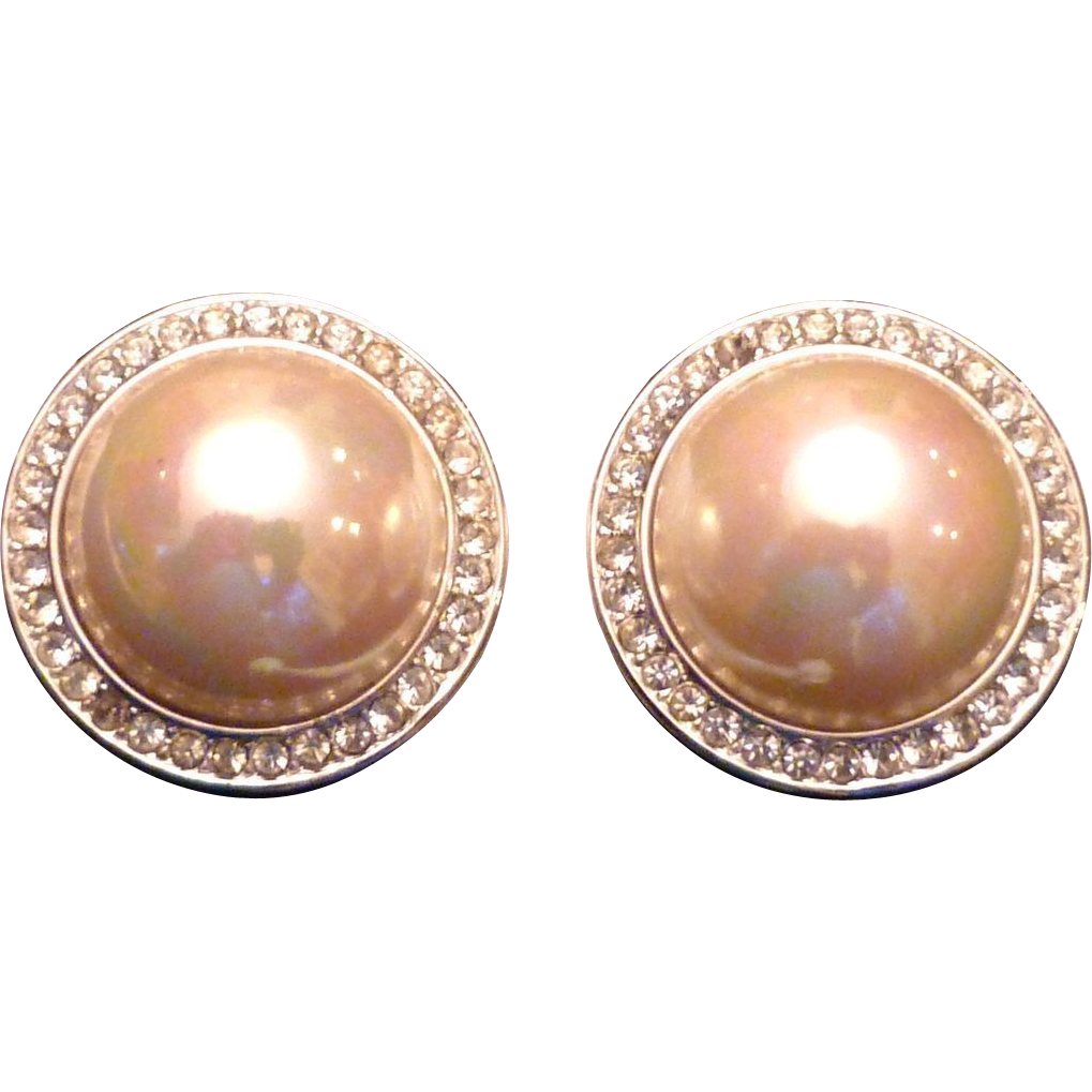 Button Earrings: Vintage Faux Pearl And Rhinestone Button Earrings From