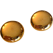 Shiny Gold Tone Button Earrings by Coro