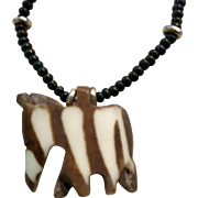 Hand Crafted Wood and Beaded Necklace from Africa