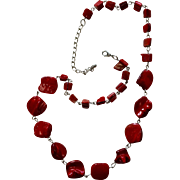 Stunning Vintage Red Stone Necklace
