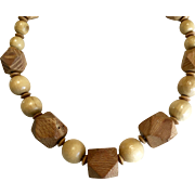 Natural Wood Beaded Necklace