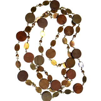 Wood and Copper Beaded Necklace