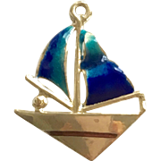 14 kt Sailboat Pendant with Cobalt Blue & Green Enamel