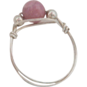 Dainty Silver Tone Ring with Pink Bead