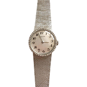 Ladies 18 kt White Gold Certina Watch–Diamond Bezel and Mesh Band