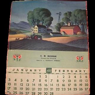 1942 OLIVER tractor and implement advertising calendar.  A. H. Reinke  Davenport Lumber and Coal Company, Davenport Nebraska
