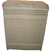 Vintage turn of the century ivory colored or off white Wicker clothes hamper basket