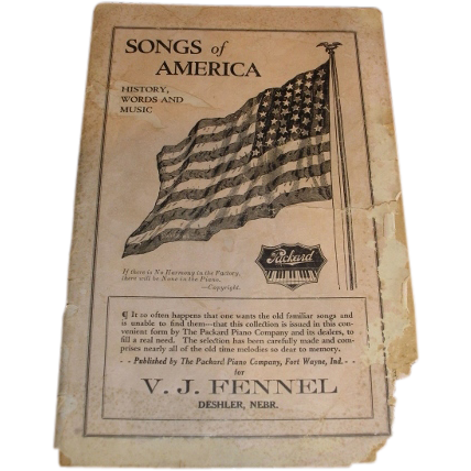 1916 V. J. Fennel Deshler Nebr. PACKARD piano advertising Songs of America with 48 star American Flag