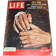 July 13, 1959 LIFE magazine  Cover story: Old Age and Khrushchev's Toughest Talk