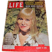 August 17, 1959 LIFE magazine cover with May Britt: A Star with Style, Romantic Surprise - Rasmussen-Rockefeller and Nixon Wows Warsaw