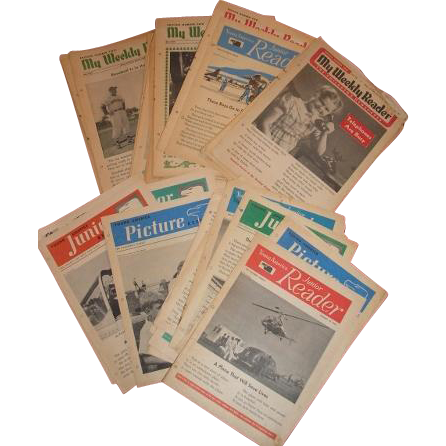 20+ copies of WEEKLY READER and Junior READER 1950, 1951, 1952 AND 1953