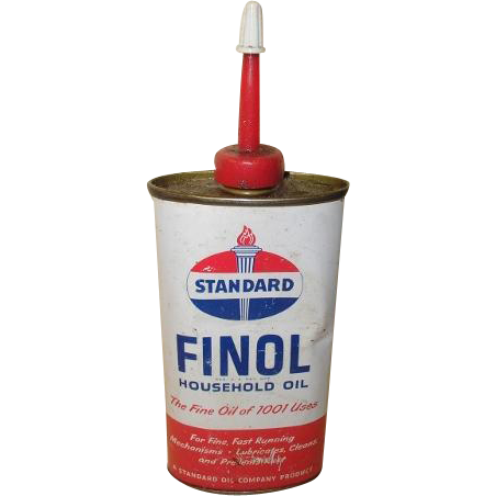 FINOL by Standard Oil household oil squeezable tin can. Vintage 1970's.
