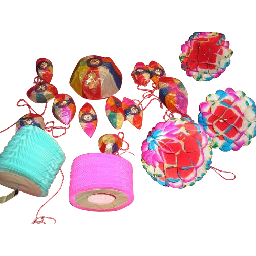 30 piece set of Oriental wax paper hanging Party ornaments or favors.  Paper wind sock fish. Pagoda style lamps or lanterns.