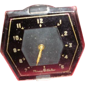 Phinney Walker vintage hexagon vehicle car or truck clock with mounting bracket