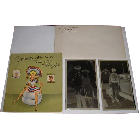 Military WW2 vintage greeting Birthday card, soldier and sweetheart photograph photo negatives and advertising envelope Larson's Super Service Concordia Kansas