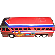 1979 Buddy L tin lithograph metal toy Greyhound style bus. Mr T graphics