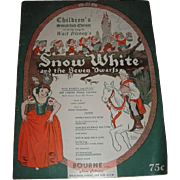SNOW WHITE and the SEVEN DWARFS sheet music brochure.  Complete Simplified Edition 1938 Walt Disney Enterprises
