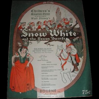 SNOW WHITE and the SEVEN DWARFS sheet music brochure.  Complete Simplified Edition 1938 Walt Disney Enterprises