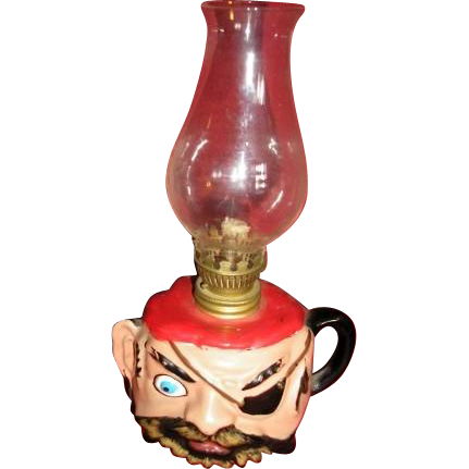 Vintage TILSO handcrafted Japan Pirate oil lamp complete with shade.  Unused condition.