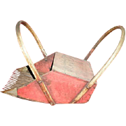 Cranberry harvesting scoop vintage wooden with tin overlay tines and bent wood handles.