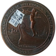 "Panama Pacific International Exposition 1915 San Francisco copper clad commemorative coin. ""For Montana Exposition Fund"" ""Oro Plata"""