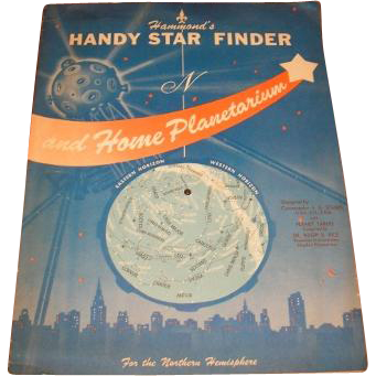 1959 Hammond's Handy Star Finder and home Planetarium.  1959 Science Fiction QUIZZLE activity book.