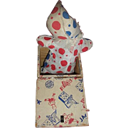 Vintage 1920's SPEAR wooden push button Jack in Box with Clown toy.