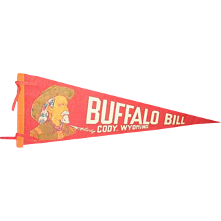 BUFFALO BILL, Cody Wyoming felt banner pennant