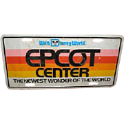 Pre-opening Walt Disney World EPCOT CENTER license plate. October 1, 1982