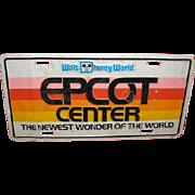 Pre-opening Walt Disney World EPCOT CENTER license plate. October 1, 1982
