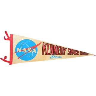 NASA Kennedy Space Center Florida vintage felt banner pennant