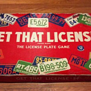 Vintage 1955 Get That License - 54. The License Plate board or table game.