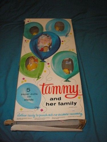 1964 original vintage Tammy and her family paper dolls with box.  Authorized edition. Ideal Toy Corporation.
