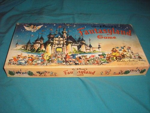 Vintage original 1956 edition of Walt Disney Production's FANTASYLAND children's board game in box.
