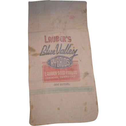 Seed corn sack. Lauber's Blue Valley Hybrids from LAUBER'S SEED FARMS Geneva Nebraska.  One Bushel cloth bag.
