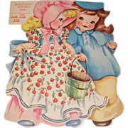 1949 vintage Birthday greeting card Jack and Jill. A Storyland paper doll complete with story inside and original envelope. Unused.