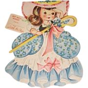 1949 vintage Get Well greeting card Little Bo Peep. A Storyland paper doll complete with story inside and original envelope. Unused.