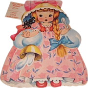 1949 vintage Get Well greeting card Little Miss Muffett. A Storyland paper doll complete with story inside and original envelope. Unused.