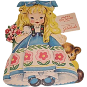 1949 vintage Happy Birthday greeting card Goldilocks. A Storyland paper doll complete with story inside. Unused.