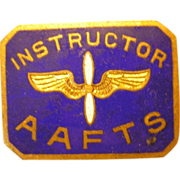 World War II AAC Army Air Force Instructor AAFTS enameled lapel pin