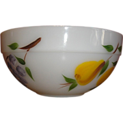 "9"" Fire King Bowl. Anchor Hocking decorated by Gay Fad Studios. ""FRUITS"" pattern"