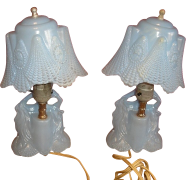 Victorian style lady or Southern Belle Art Deco BLUE glass bedroom or boudoir lamp pair.