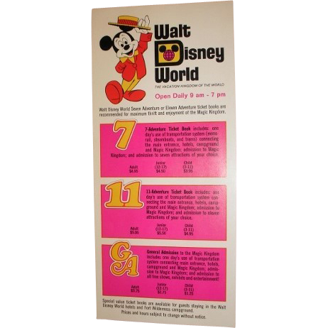 Walt Disney World ticket book brochure 1972