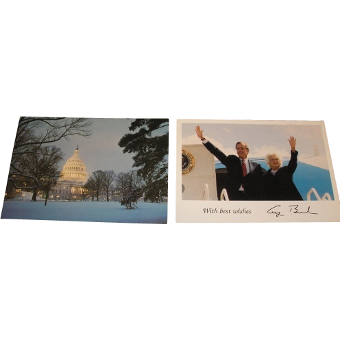 Three pieces of history. 1984 Ronald Reagan and George Bush Presidential campaign photograph, George H and Barbara Bush photograph and the Capitol building in 1988.