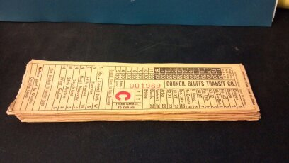 Six Council Bluffs Transit Company street or horse car ticket stubs.  Southwest Globe Ticket Company - Dallas