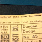 Dozen Council Bluffs Transit Company street or horse car ticket stubs. Southwest Globe Ticket Company - Dallas