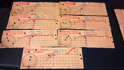 Seven Chicago Surface Lines street or horse car ticket stubs. Milwaukee Armitage, Broadway-State, Lake-State, Clybourn, S. Chicago and Higgins