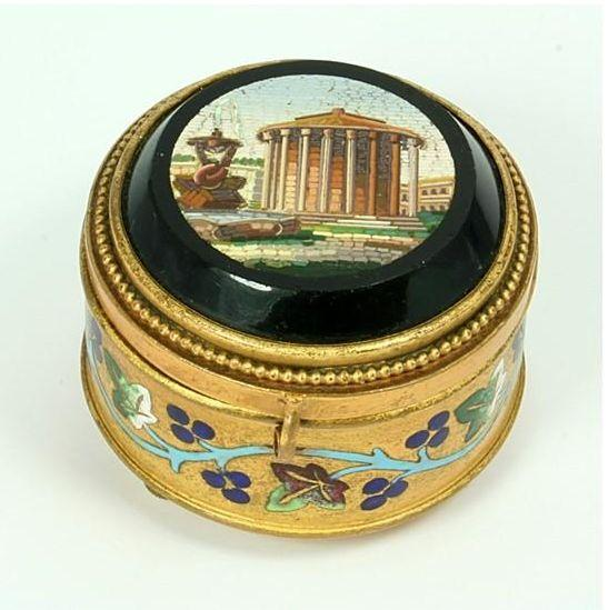Micro Mosaic, Gilt, Enamel Jewelry Box, c.1860