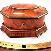 Kingwood Jewelry Box, signed TAHAN, Rare Octagonal Shape